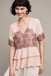 Anthropologie Tiered Lace Blouse Pink