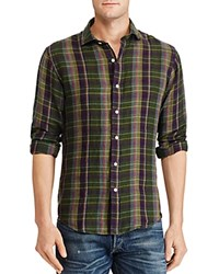 Polo Ralph Lauren Plaid Linen Classic Fit Button Down Shirt Evergreen Purple