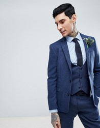 Asos Slim Suit Jacket In Blue Wool Mix Twill