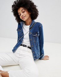 Bershka Minimal Denim Jacket Mid Blue