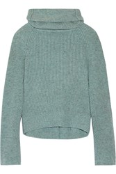 Toga Ribbed Wool Turtleneck Sweater Mint