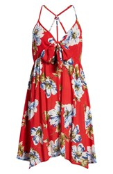 Band Of Gypsies Blue Moon Floral Print Dress Red Sky