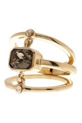 Cole Haan Chain Linked Stone Ring Size 7 Metallic