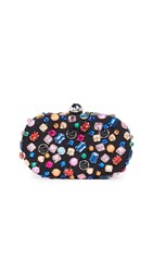 Santi Oval Gem Clutch Black Multi