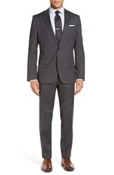 Boss Men's 'Huge Genius' Trim Fit Solid Wool Suit Black