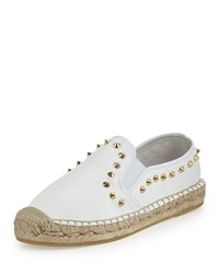 Ash Zest Studded Leather Espadrille White