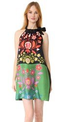 Cynthia Rowley Silk Scarf Print Tie Neck Dress