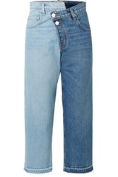 Monse Two Tone Distressed Mid Rise Straight Leg Jeans Mid Denim