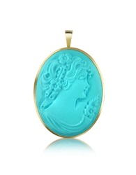 Del Gatto Woman Turquoise Paste Cameo Pendant Pin