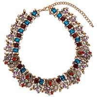 John Lewis Statement Glass Stone Collar Necklace Red Multi