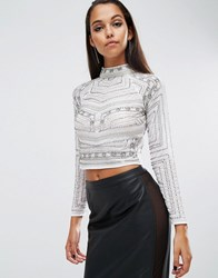 Asos Night Top With High Neck In Beaded Embellishment White