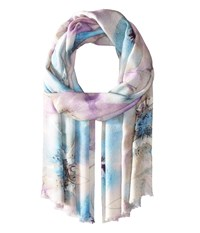 Bindya Stole Water Color Floral Scarf Blue Scarves