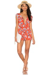 Minkpink Floating In The Tropics Romper Coral