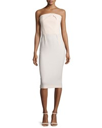 Roland Mouret Pleated Strapless Wool Crepe Dress Nude