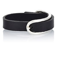 Werkstatt Munchen Men's Leather Bracelet With Hammered Buckle Black Blue Black Blue