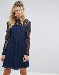 Elise Ryan High Neck Swing Dress With Lace Upper Navy