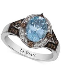 Le Vian Aquamarine 1 3 8 Ct. T.W. And Diamond 1 4 Ct. T.W. Ring In 14K White Gold Blue