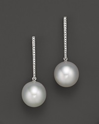 Bloomingdale's Oval White South Sea Cultured Pearl Earrings With Diamonds In 14K White Gold 12 13Mm