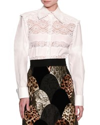 Dolce And Gabbana Frill Lace Inset Poplin Shirt White