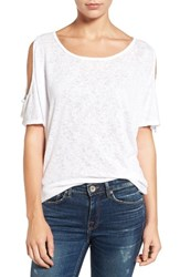 Velvet By Graham And Spencer Women's Cold Shoulder Tee White