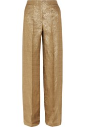 Etro Lame Wide Leg Pants Gold