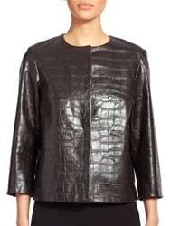 Max Mara Noemi Croc Embossed Leather Jacket Dark Brown