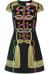 Peter Pilotto Rope Embroidered And Embellished Cotton Canvas Mini Dress Black