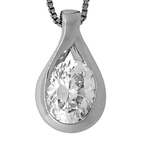 Jools By Jenny Brown Twist Drop Oval Cubic Zirconia Pendant Necklace Silver