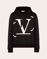Valentino Uomo Deconstructed Go Logo Hooded Sweatshirt Man Black Cotton 93 Polyamide 7