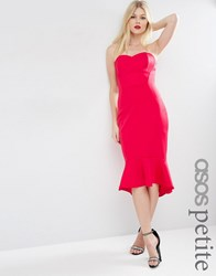 Asos Petite Pephem Bandeau Midi Dress Red