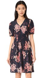 Rebecca Taylor Short Sleeve Phlox V Neck Dress Dark Navy
