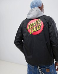 Santa Cruz Screaming Hand Coach Jacket In Black