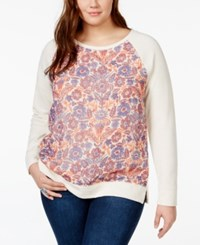Lucky Brand Jeans Plus Size Floral Print Sweatshirt