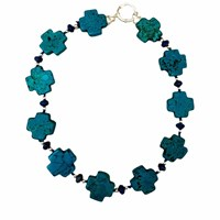 Plumeria Exclusive London Chunky Turquoise Cross Necklace Blue