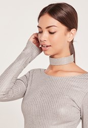 Missguided Chunky Glitter Choker Necklace Silver