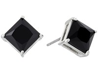 Lauren Ralph Lauren Estate Faceted Stone Stud Earrings Black Silver Earring