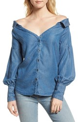 Ella Moss Off The Shoulder Chambray Top Med Wash