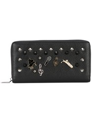 Dolce And Gabbana Badge Stud Continental Wallet Black