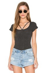 Lna Strappy Tee Bodysuit Gray