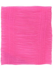 Armani Collezioni Pleated Scarf Women Polyester One Size Pink Purple