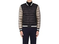 Moncler Men's Colorblocked Down Quilted Varsity Jacket Black