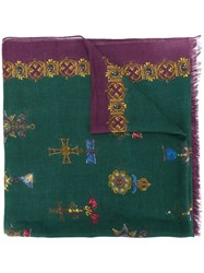 Dolce And Gabbana Royal Print Scarf Unisex Modal Cashmere Green