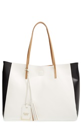Poverty Flats By Rian 'Colorful' Colorblock Faux Leather Shopper White Black