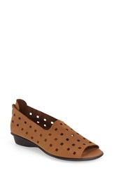 Women's Sesto Meucci 'Evonne' Cutout Open Toe Flat Brown Nubuck