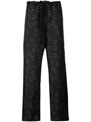 Ann Demeulemeester Printed Wide Leg Trousers Black