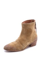 Swildens Jackpot Zip Suede Booties Natural