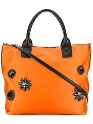 Pinko Contrast Trim Embellished Tote Yellow And Orange