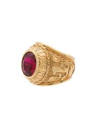 Ambush Gold Class Ring With Faux Ruby Metallic