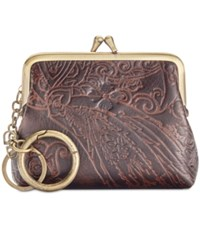 Patricia Nash Burnished Tooled Lace Large Borse Coin Purse Dark Brown