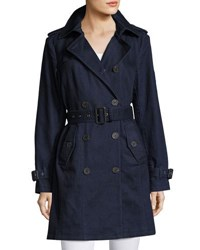 Michael Michael Kors Denim Double Breasted Trench Coat Dark Blue